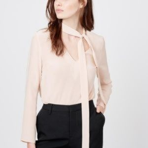 Cuyana Silk Bow Blouse